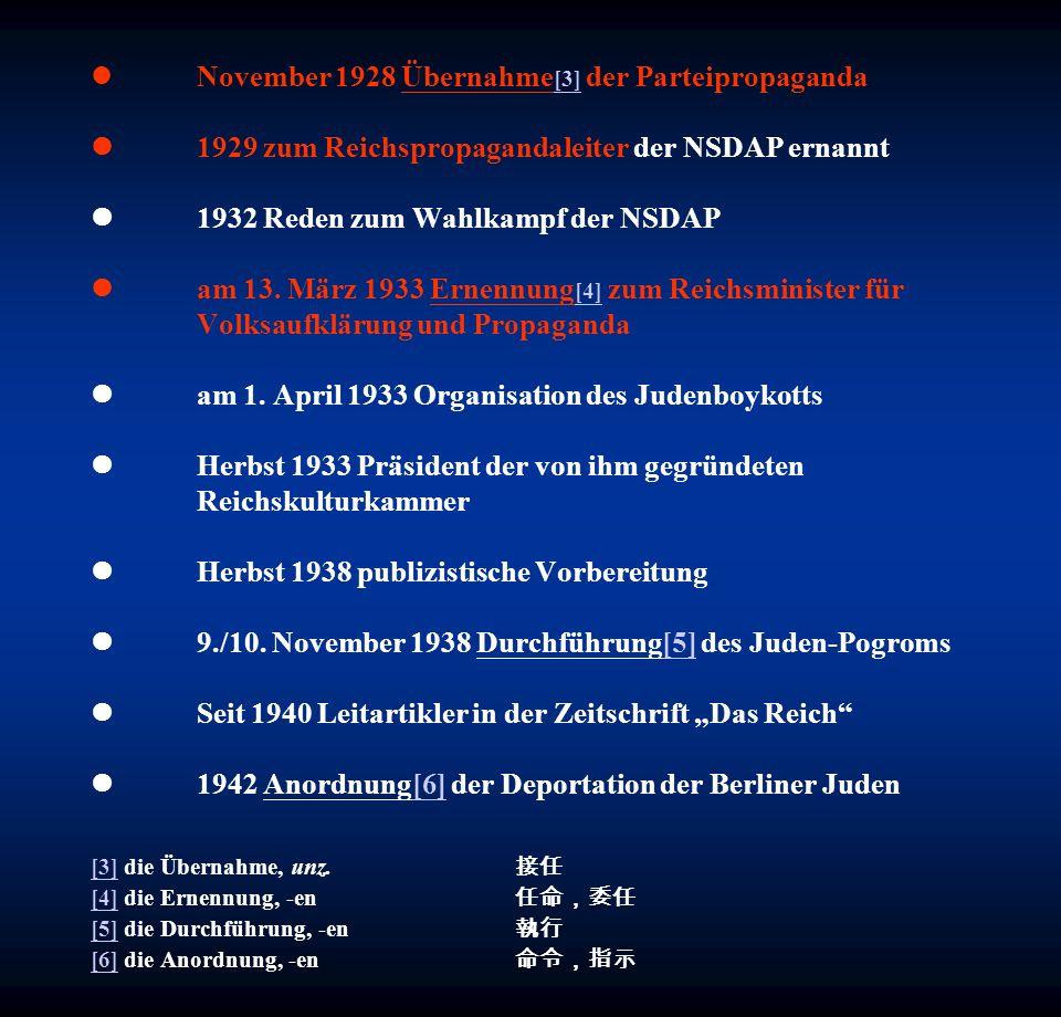 November 1928 Übernahme[3] der Parteipropaganda l